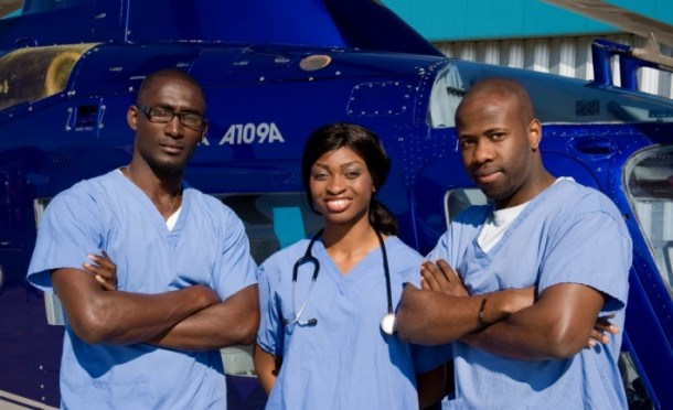 SAVING LIVES: Ola (centre), with her team