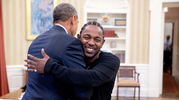 MUSIC MEETS POLITICS: Rapper Kendrick Lamar and Obama embrace at The White House