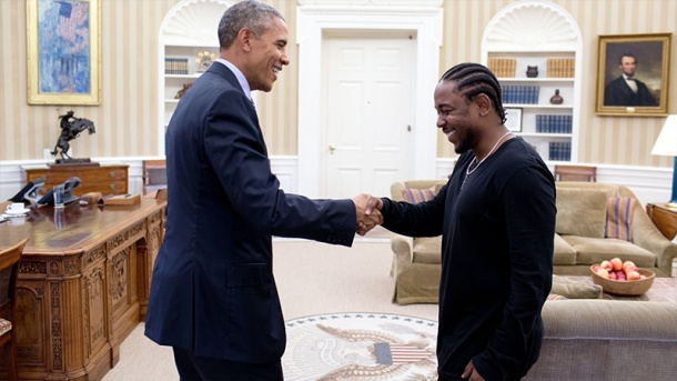 LET'S SHAKE ON IT: Kendrick and President Obama end their meeting with a handshake