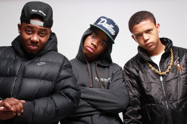 SUPPORT: Joivan Wade (centre) with Mandem on the Wall co-star Dee Kartier and Percelle Ascott