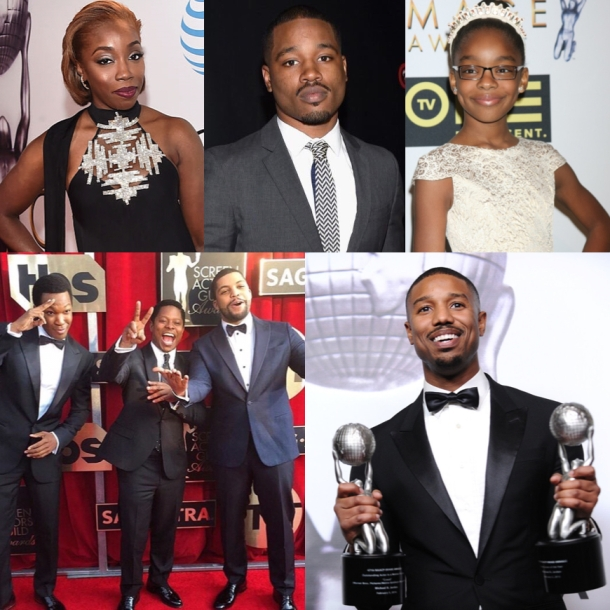 YOUNG STARS REIGN SUPREME: (Clockwise from left) Estelle, Ryan Coogler, Marsai Martin, Straight Outta Compton cast (Corey Hawkins, Jason Mitchell and O'Shea Jackson) and Michael B Jordan