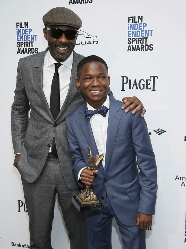 DOUBLE ACT: Idris and Abraham on the red carpet
