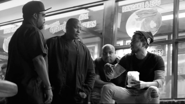 COMPTON LOVE: Kendrick with N.W.A's Dr Dre and Ice Cube