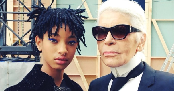 NEW ROLE: Willow Smith with creative director of Chanel, Karl Lagerfeld