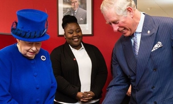 ROYAL APPOINTMENT: La'Tifah with the Queen and Prince Charles