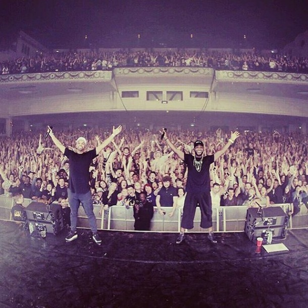 SOLD OUT: Tinie Tempah (right) and DJ Charlesy on stage at Brixton Academy