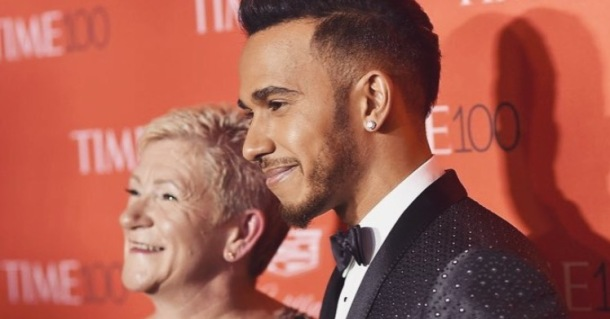 PROUD SON: Lewis Hamilton pictured on the red carpet with his mother Carmen at the Time 100 Gala