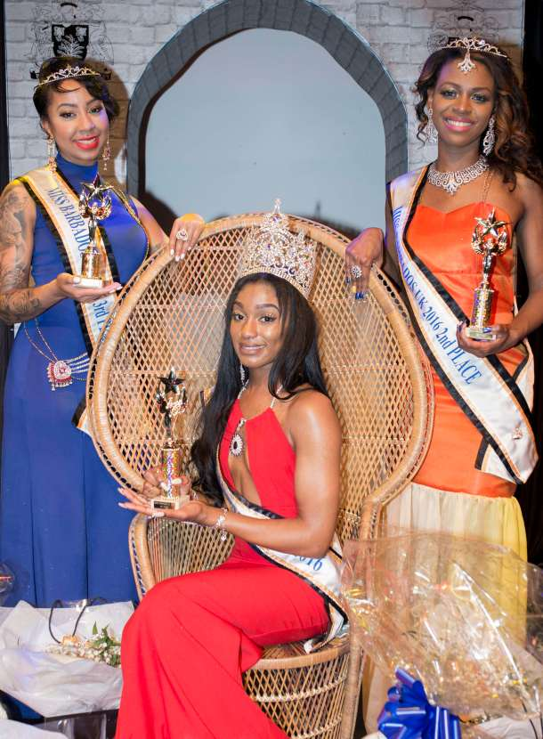 LADIES NIGHT: Miss Barbados UK Sheree Miller with Karina Jemmott, 24, who was crowned the first runner up and Quesha Nicholls, 29 the second runner up