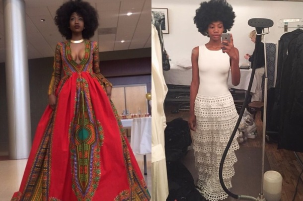 TALENTED: Kyemah models her winning creation on the left