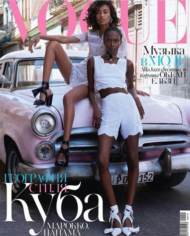 BLACK BEAUTY: Riley on the cover of Vogue with fellow model, Anais Mali