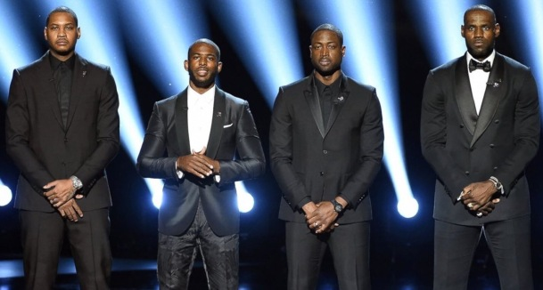 SPEAKING UP: Carmelo Anthony, Chris Paul, Dwyane Wade and LeBron James