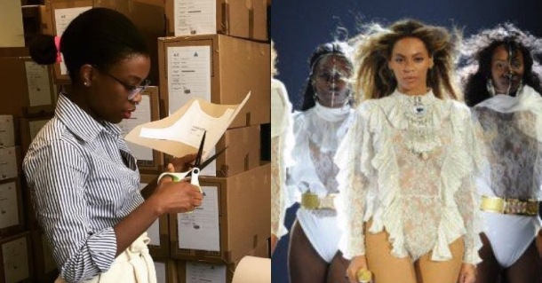 EXPANSION: Ade Hassan, left, founder of Nubian Skin, diligently working on new patterns and Beyoncé on her Formation tour, right