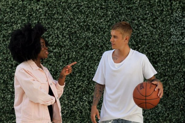 FRIENDS IN HIGH PLACES: Clara Amfo with Justin Bieber in his LA home