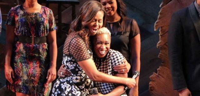 UNFORGETTABLE MOMENT: British actress Cynthia Erivo with First Lady Michelle Obama