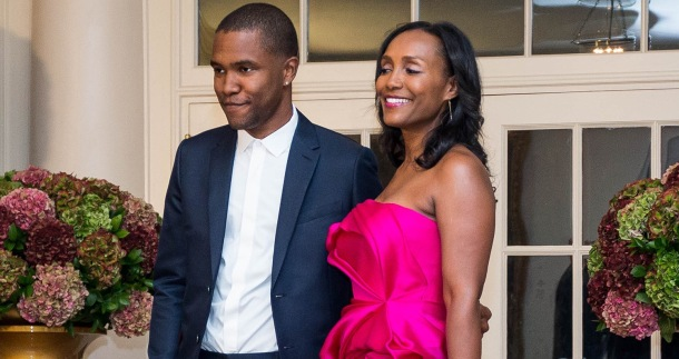 FAVOURITE GIRL: Frank Ocean with his mum at The White House