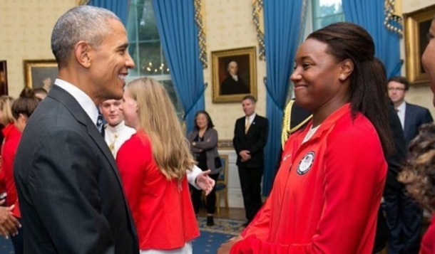 HISTORY MAKERS: Simone Manuel with President Barack Obama