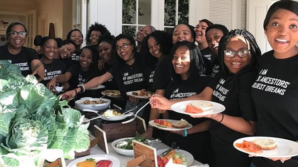 LEGACY: Oprah, far left, with students from her leadership academy in South Africa