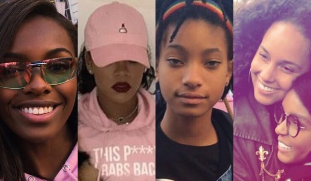 SOLIDARITY: (L-R) British model Leomie Anderson, Rihanna, Willow Smith and Alicia Keys with Janelle Monáe