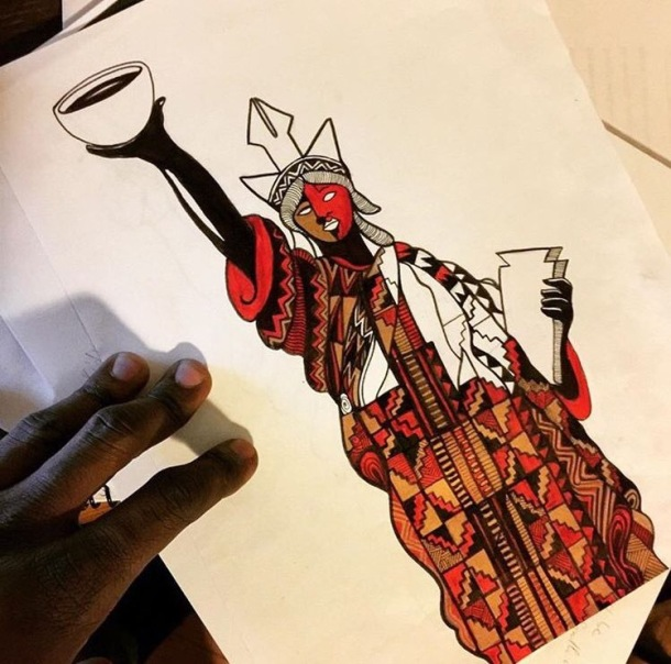 BEAUTIFUL: Laolu's piece shows the Statue of Liberty draped in kente cloth