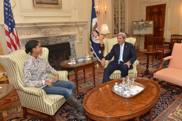 CHAMPIONING EDUCATION: Zuriel meets with Secretary of State John Kerry