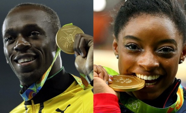 TOP HONOURS: Usain Bolt and Simone Biles
