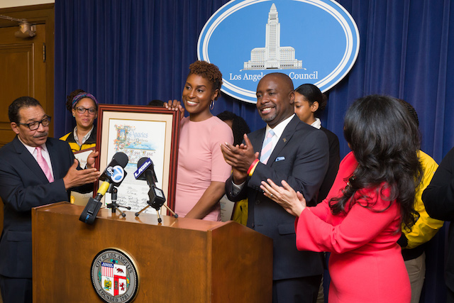 HONOURED: Issa Rae with LA council members
