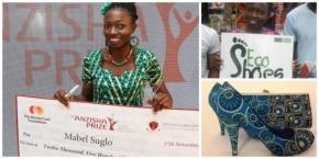 Ghanaian Mabel Suglo, 21, founded a company that employs disabled people to manufacture shoes from tyres and recycled materials