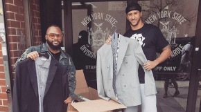 NFL star Colin Kaepernick donates two boxes of custom suits to charity and hands them out outside NY parole office